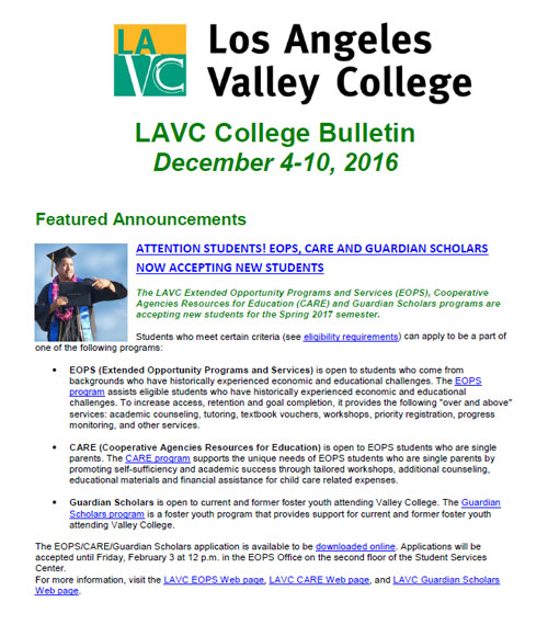 LAVC College Bulletin December 4-10 Image