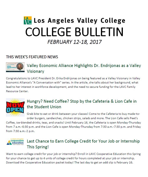 LAVC College Bulletin February 12-18, 2017