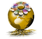 World business - Illustration world gold colored roots and...