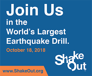 Shake Out. Join us in the World's Largest Earthquake Drill on October 18, 2018. www.ShakeOut.org