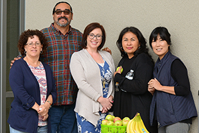 Left, CSDC members and classified staff prepare for a campus walk activity. Participants are (L-R) Arlene Stein, Roberto Gutierrez, Jamie Hollady-Collins, Yasmin Aviles, and Sara Song.
