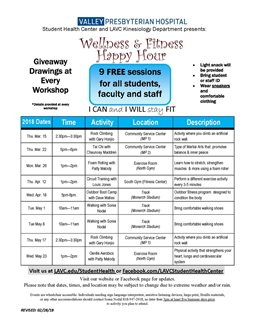 Spring 2018 Wellness & Fitness Happy Hour - Walking