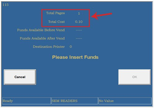 Print Release Station Screen: Page total and cost total