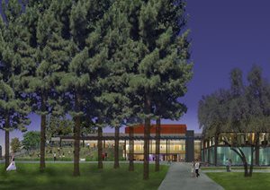 Rendering of Performing & Media Arts Center Entrance