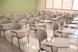 A class room full of chairs