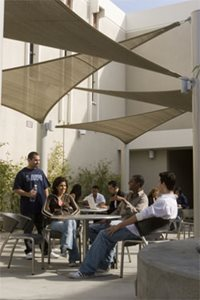Students in the Monarch Patio